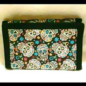 NWT! Black Sugar Skull Tri-Fold Wallet